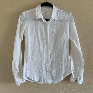UNIQLO Cream Linen Button Down Top
